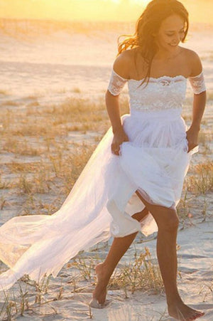 Simple Off Shoulder Short Sleeves Tulle Lace Beach Wedding Dress W550