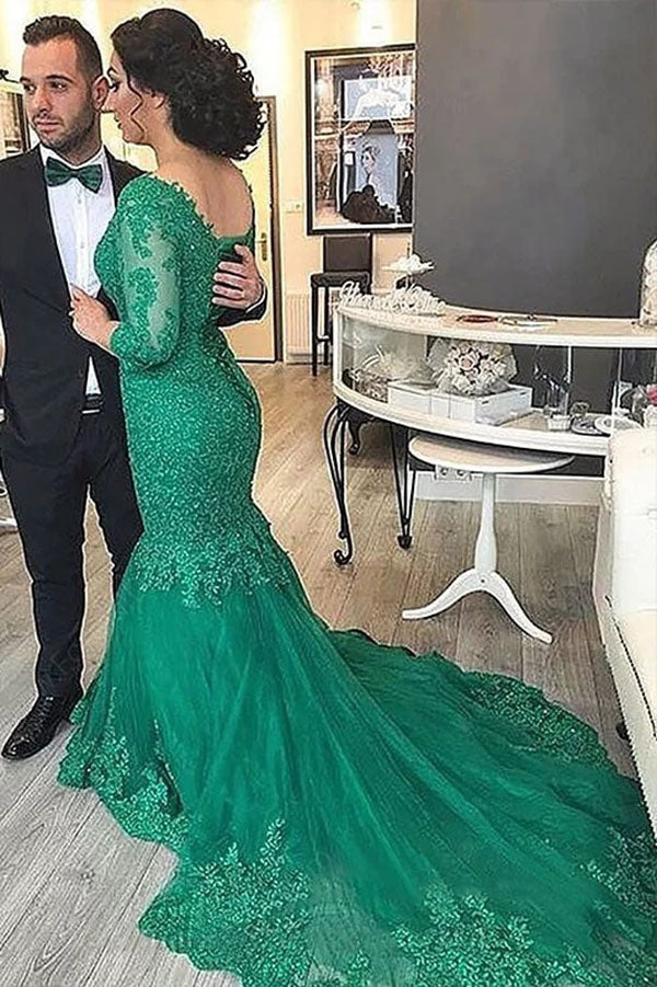 Gorgeous Sweep Train Plus Size Mermaid V Neck  3/4 Sleeves Lace Appliques Prom Dress P774