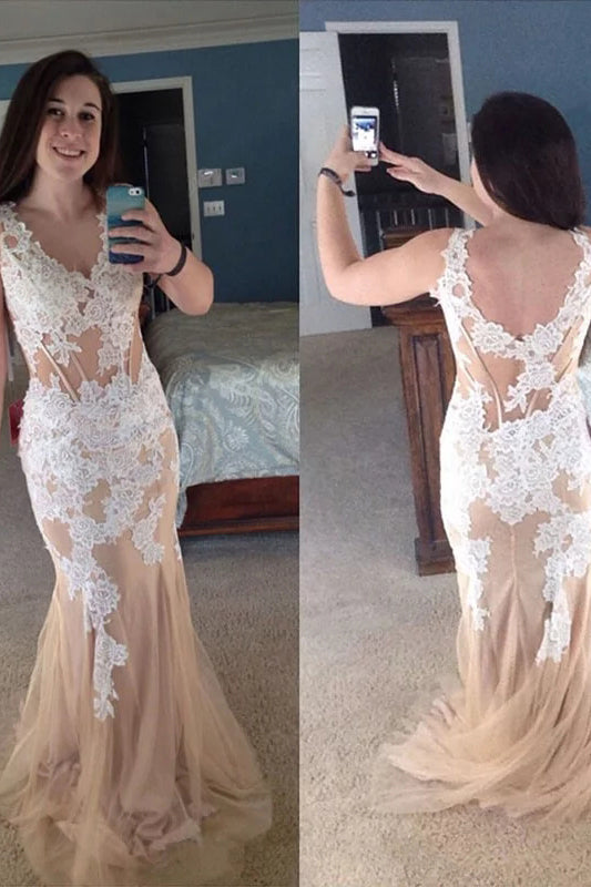 Delicate Mermaid Open Back V Neck Lace Appliques Plus Size Prom Dress P786