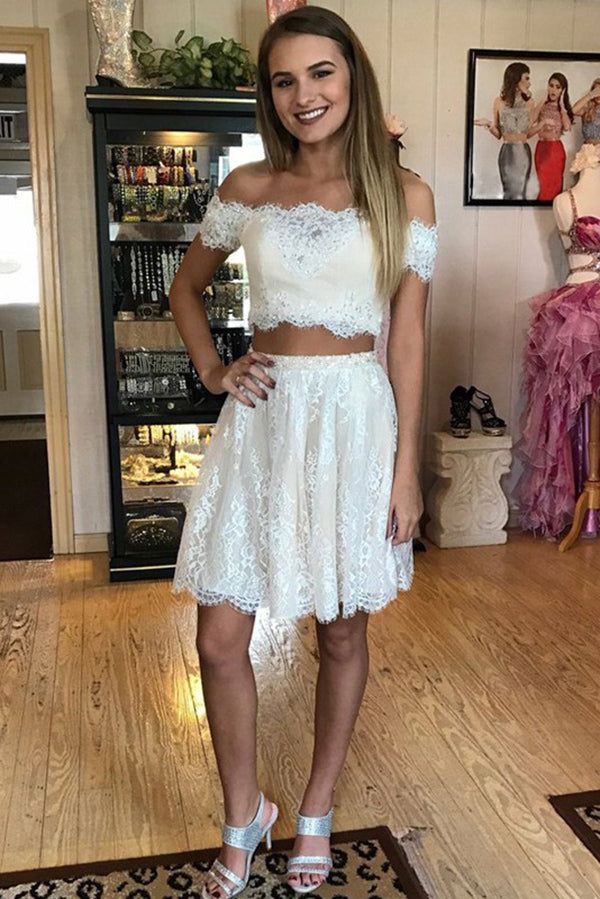 Off-the-Shoulder With Lace Appliques Two Piece Homecoming Dress M589