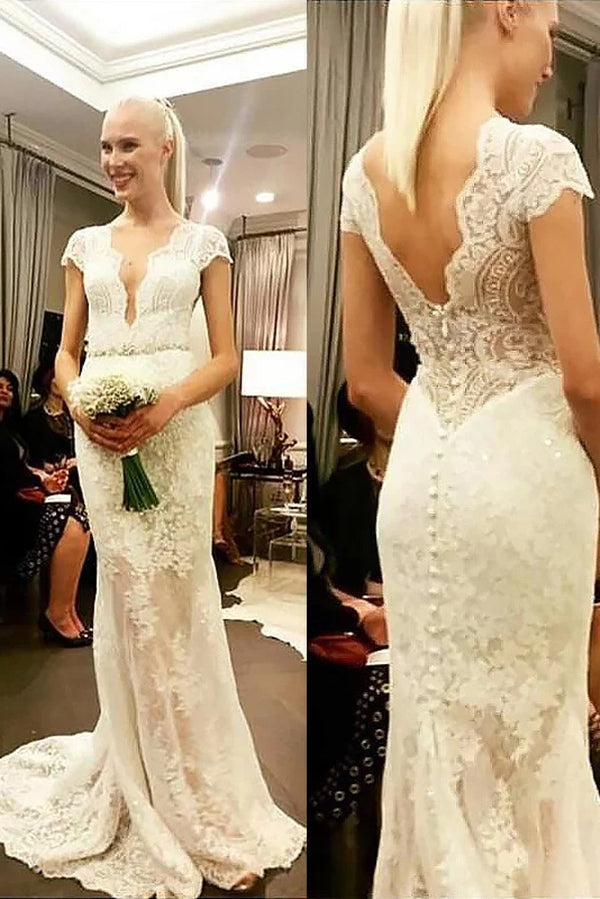 Chic Deep V Neck Short Sleeves Lace Applqiues Wedding Dresses W353