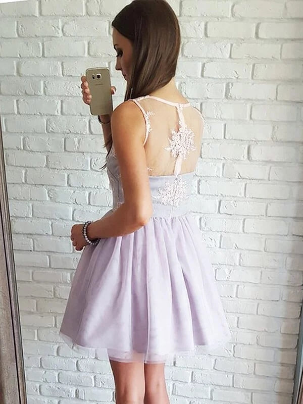 Charming Sleeveless V Neck A Line Tulle Homecoming Dress M590 - Ombreprom