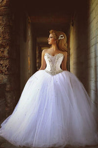 Impressive Sweetheart Sleeveless With Beading Ball Gown Wedding Dresses W380