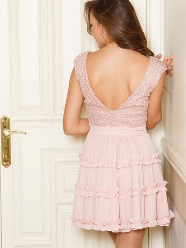 Chic Round Neck Cap Sleeves With Appliques Homecoming Dress M489