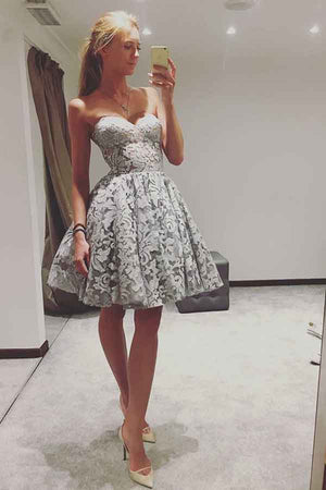 Sweetheart Strapless A Line With Lace Appliques Homecoming Dress M558