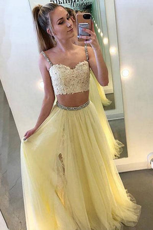 cc71cf3ce2222 Chic Two Pieces Sweetheart Tulle Floor Length Prom Dress P645 ...
