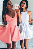 Simple Sleeveless Homecoming Dresses,Open Back Short Prom Dress
