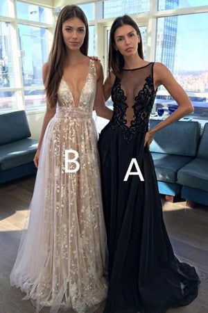 Gorgeous Lace With Appliques V Neck Long Formal Dress Long Prom Dress P725