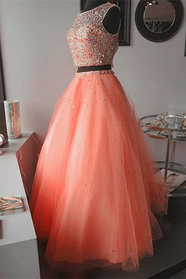 Coral Two Piece Jewel Keyhole Organza Beaded Quinceanera Dress, Sweet 16 Ruffles Ball Gown Q105