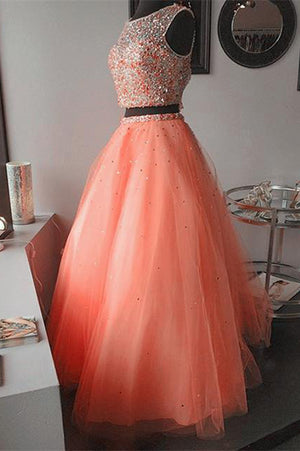 b2aea4e641d Coral Two Piece Jewel Keyhole Organza Beaded Quinceanera Dress ...