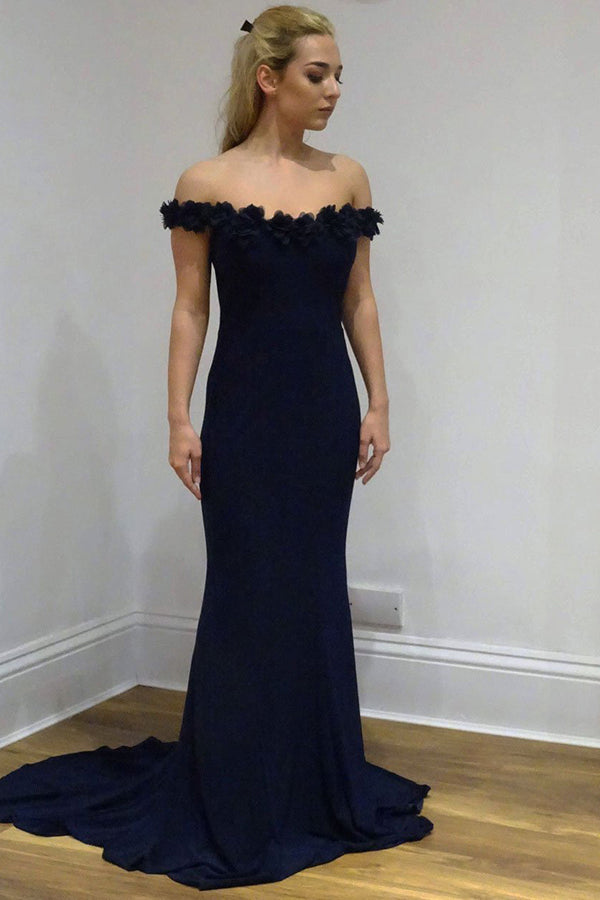 Gorgeous Navy Blue Mermaid Off the Shoulder With Appliques Prom Dress P745