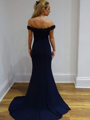 612cf7cce3 Gorgeous Navy Blue Mermaid Off the Shoulder With Appliques Prom Dress P745