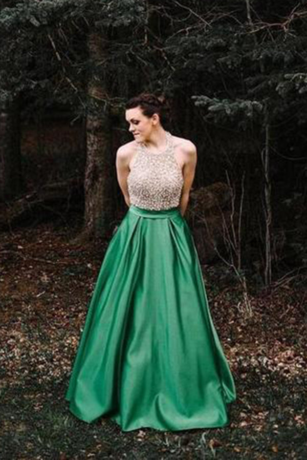 Simple Halter With Sleeveless Green A Line Floor Length Prom Dress P819