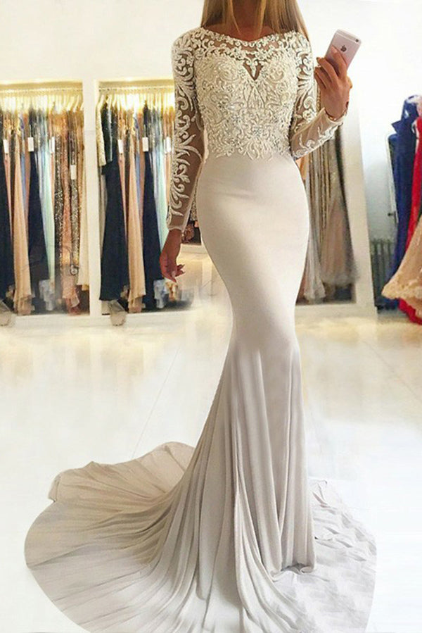 Flossy Long Sleeves Round Neck Mermaid Prom Dresses Sweep Train P910