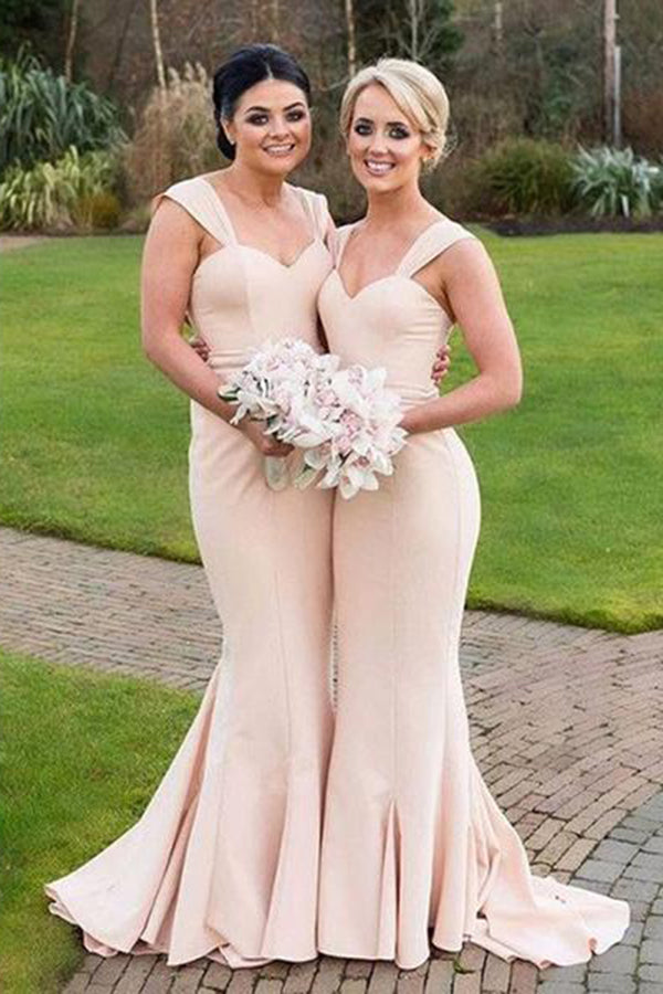 Simple Sweetheart Mermaid Sleeveless Floor Length Bridesmaid Dress B437