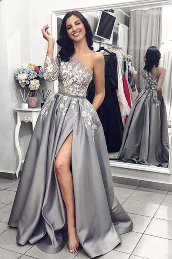 Elegant One Shoulder Long Sleeves Lace Appliques Prom Dress with Split Side P857
