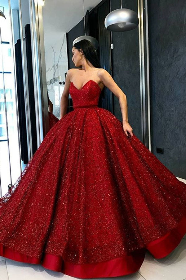 a6bbcea9e3f Stunning Red Sweetheart Ball Gown A Line Prom Dress with Sequins P873
