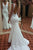 Elegant V Neck Backless Mermaid Lace Appliques Wedding Dress Sweep Train W488