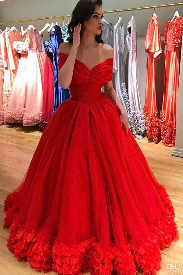 Romantic Off the Shoulder Red Ball Gown Floor Length Long Prom Dress P820