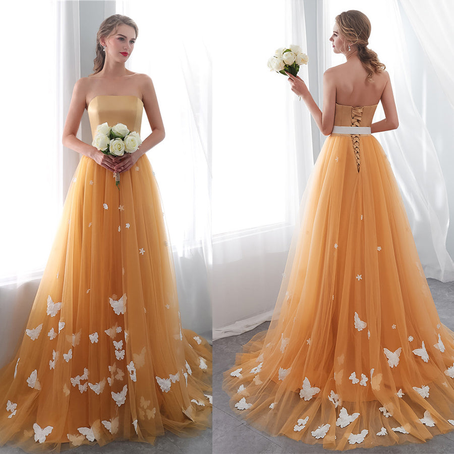 Strapless Tulle Lace Up Tulle Sweep Train Prom Dress with Appliques P860