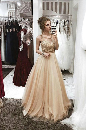 cc01b7e1ed Delicate Round Neck Sleeveless Tulle A Line Long Prom Dress P883 ...