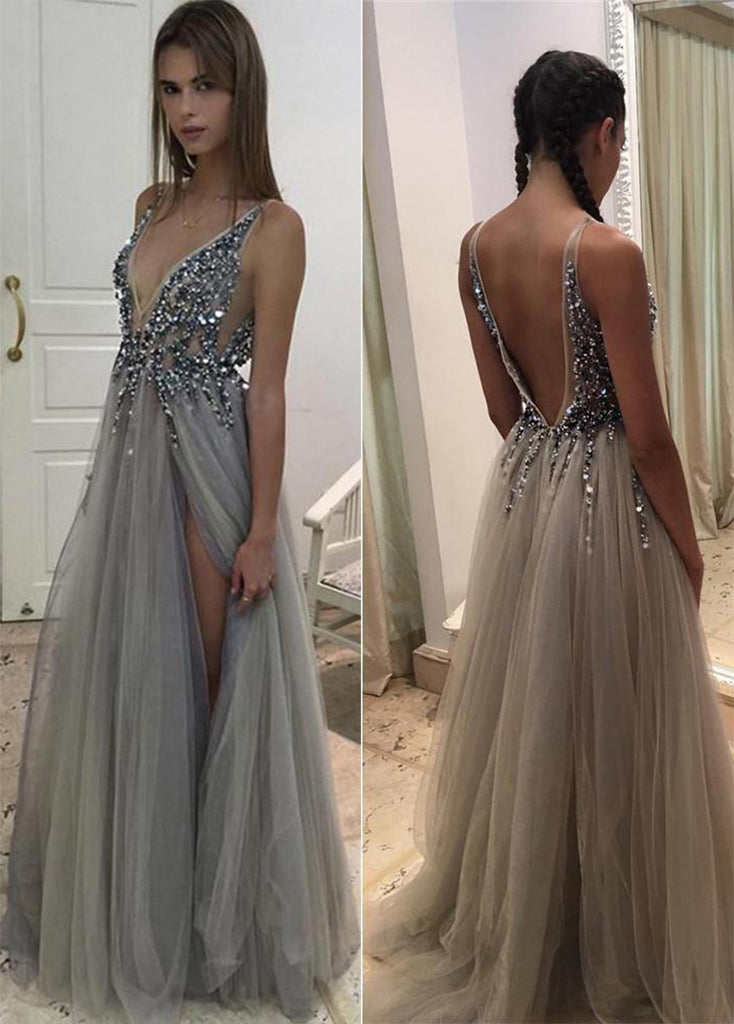 Sexy V neck Beaded Tulle With Side Slit Prom Dresses P632