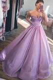 Chic Sweetheart Satin Sleeveless Ball Gown Appliques Prom Dress P858