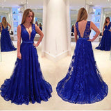 Elegant V Neck Sleeveless Lace Floor Length Prom Dress with Appliques D28