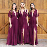 Casual Cheap Simple Flowy Mulberry Chiffon V Neck Floor Length Bridesmaid Dresses B428