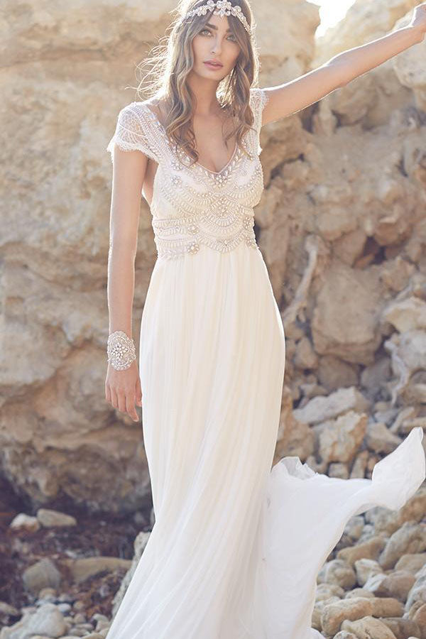 Vintage V Neck Backless Boho Beach Wedding Dresses with Cap Sleeves W497