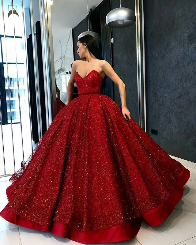 Stunning Red Sweetheart Ball Gown A Line Prom Dress with Sequins P873