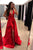 Chic Red Deep V Neck Prom Dresses Formal Party Dresses with Split Side P918