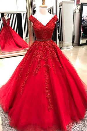 09e7d661529f Red V Neck A Line Sweetheart Ball Gowns Lace Prom Dresses with Appliques  P915