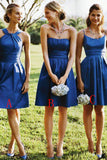Royal Blue A-Line Sleeveless Satin Knee-Length Bridesmaid Dresses,Wedding Party Dresses