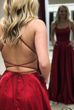Casual Red Simple Spaghetti Straps Backless Sweep Train Backless Prom Dress With Pockets D172