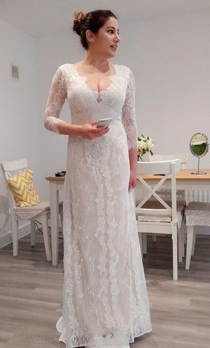 A Line Brush Train Deep V Neck Half Sleeve Lace Wedding Dress,Beach Wedding Dress W213 - Ombreprom