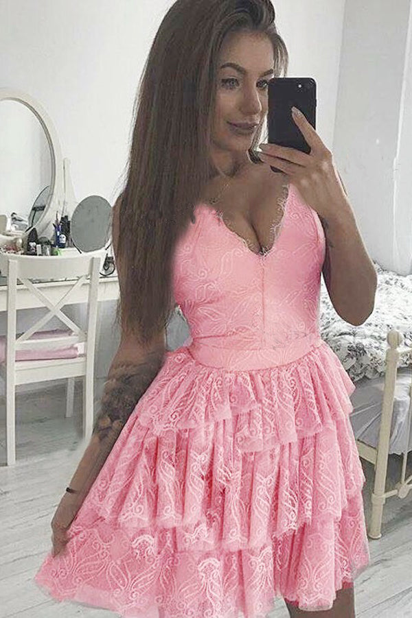 Pink Sweetheart Spaghetti Sleeveless Homecoming Dress,Appliques Ruffles Short/Mid Prom Dress