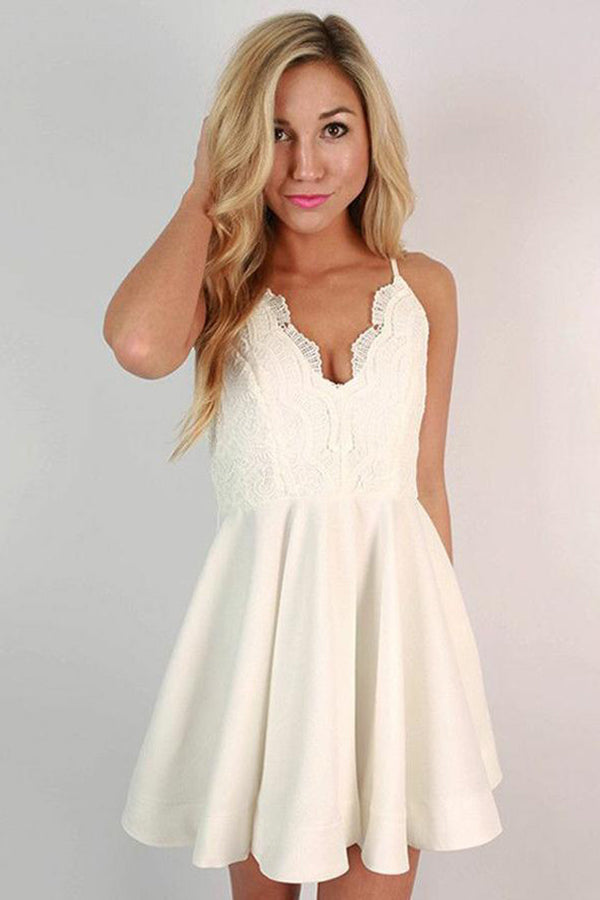 Cute Lace Spaghetti Strap V-neck A Line Homecoming Dress M515