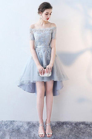 8470c7a78f Lace Appliques Off the Shoulder High Low Homecoming Dress M522 ...