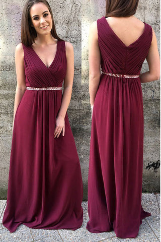 Burgundy Chiffon Sleeveless V Neck Long Prom Dresses P630 - Ombreprom