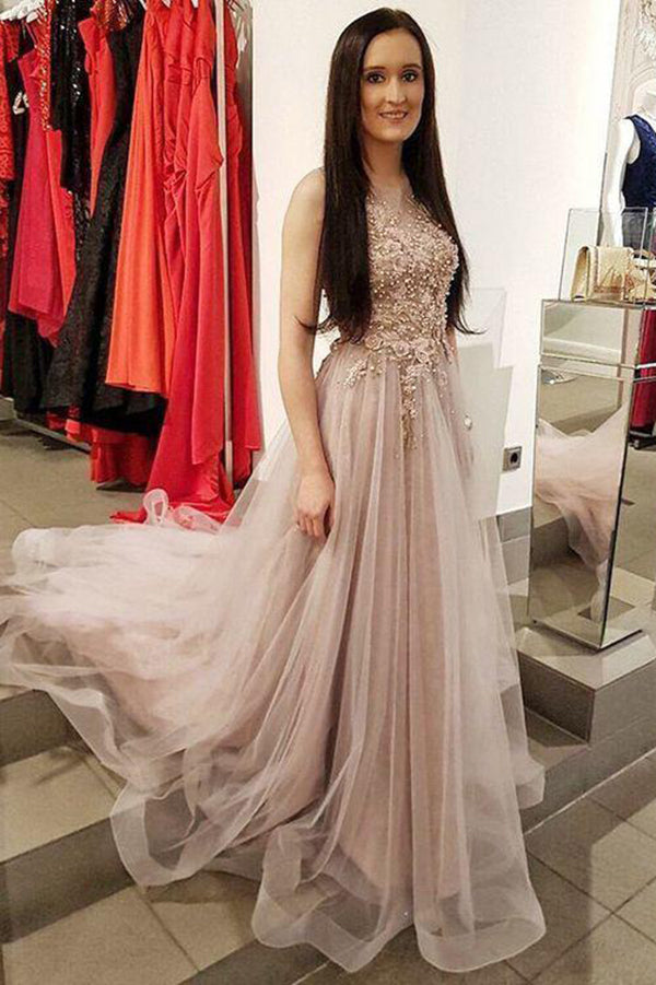 Luxury Lace Tulle Applique Sleeveless With Beaded  Prom Dresses P627