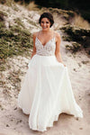 Spaghetti Straps V Neck Long Chiffon Wedding Dress with Beading W565