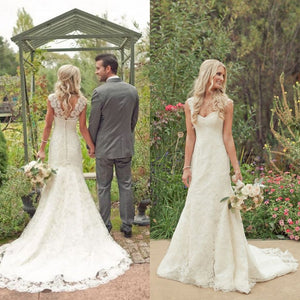 Chic Mermaid Sleeveless Brush Train V Neck Sweetheart Lace Wedding Dresses W381