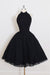 Pleated Chiffon Ball Gown Halter Knee-Length Sleeveless Homecoming Dress,Party Dress,M283