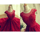 Scoop A-line Short Red Lace Sweet 16 Prom Dress Homecoming Dress DTRC66