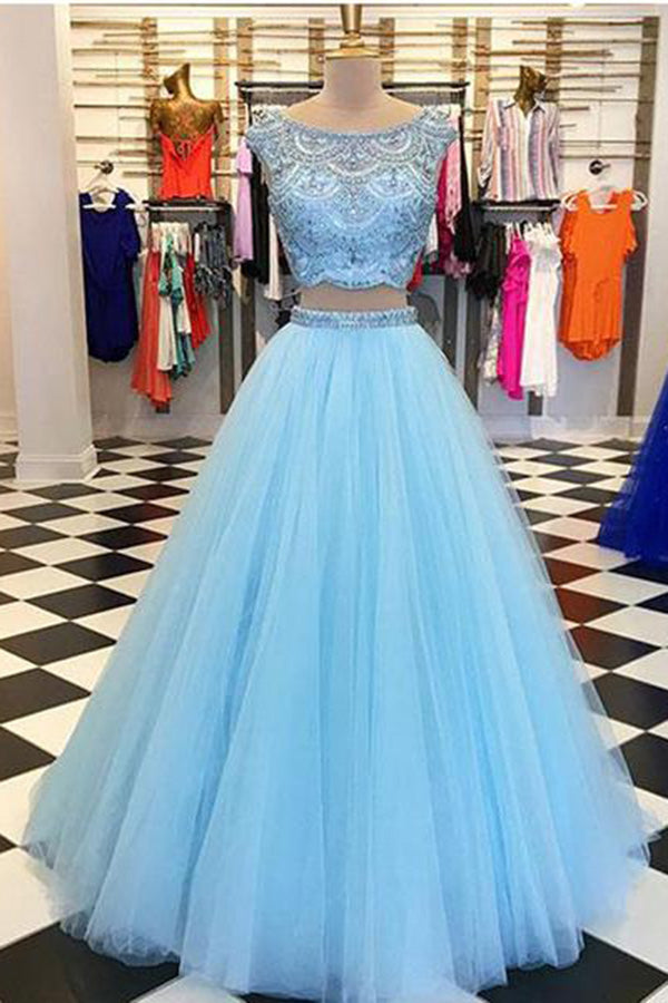 Chic Two Pieces Blue Beaded Tulle Sleeveless Long Prom Dress P812