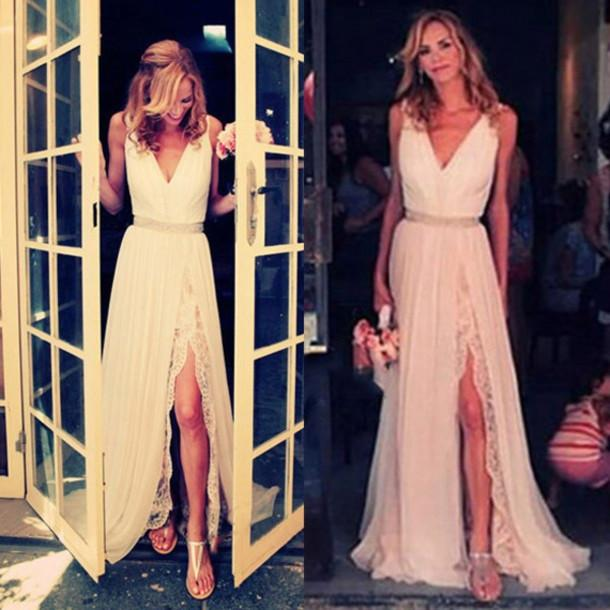 2017 New Arrival V-Neck Lace Sleeveless Side Slit Charming  Vintage Prom Dress HE89 - Ombreprom
