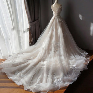 Ball Gown Off Shoulder Sweetheart Appliques Beading Tulle Wedding Dresses - Ombreprom