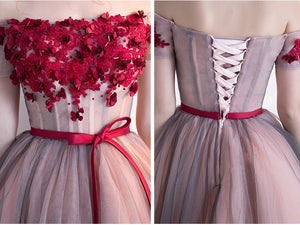 Burgundy Off Shoulder Short/Mini Cocktail Dress With Flower Lace-up Wedding Dress - Ombreprom