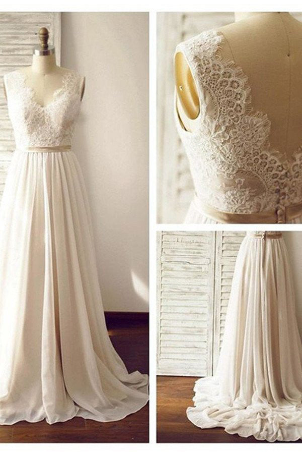 Charming V-neck Backless Long Chiffon Beach Sleevelss Lace Wedding Dresses - Ombreprom